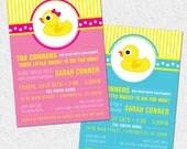 Little Rubber Ducky Baby Shower Invitation Printable, Duckie, Modern, Preppy, Boy or Girl, Gender Neutral, DIY Digital File