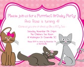 Printable Kitty Cat Birthday Invitation, Kitten, Kitties, Pink, Polka Dots, Purrrfect, Girl, Girlie, Girly,  DIY digital file