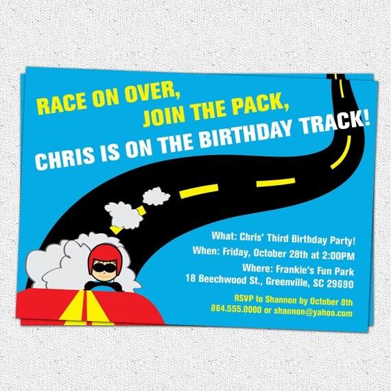 Printable Race Car Birthday Party Invitation Racecar Driver