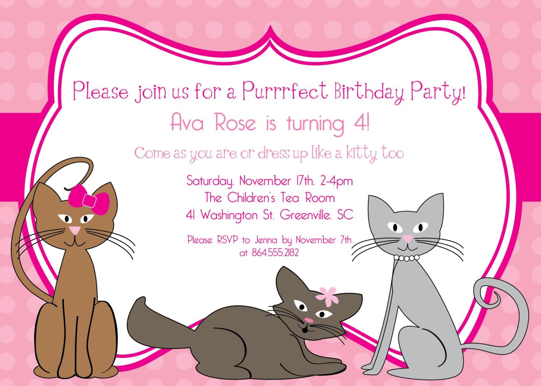 Printable Kitty Cat Birthday Invitation Kitten Kitties