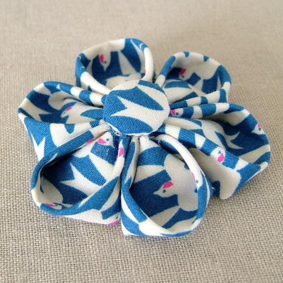 Kanzashi Flower Brooch Pin - Retro Blue Swallows Print Fabric Corsage
