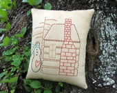 Primitive Winter Cabin Snowman Pillow - Hand Stitched Embroidery