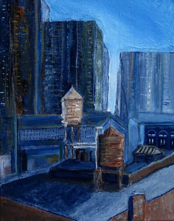New York City Pair of Water Tanks Original Acrylic (11x14) Painting by Paul Piasecki