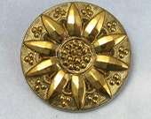Antique Victorian Button Large Gold Glass 8