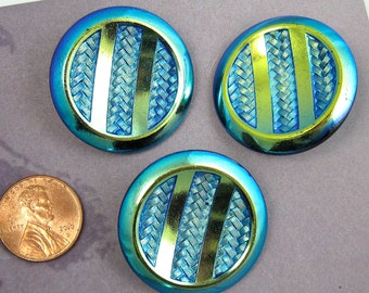Vintage Glass Button Large Iridescent Carnival Glass Button 62