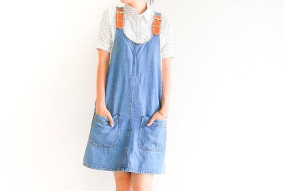 Vintage Light Blue Denim Overall Mini Dress