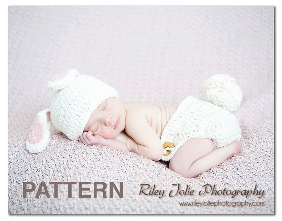 2 PDF Crochet patterns Bunny Hat and Diaper Cover set Baby Girl Boy. Photography prop (027 029)Permission To Sell Finished Items