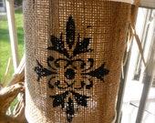 Wood and Burlap Hanging Lantern