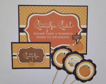 Little Pumpkin Candy Buffet Labels or Food Cards Fall Birthday or Party - Made to Order