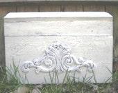 Large Shabby Chic Vintage style Antique Rustic Ivory Wedding Card Box Keepsake
