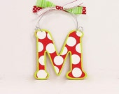 Christmas Ornament monogram holiday decoration Letter Initial red and white dots