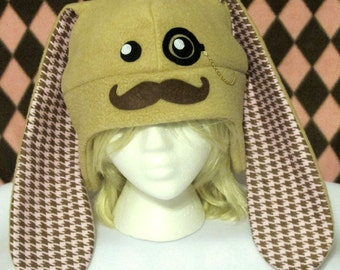 Mustache Bunny Fleece Hat - Pink Houndstooth - MADE TO ORDER