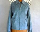 70s Halston Jacket/ Blue designer Mens jacket/ unisex microsuede coat