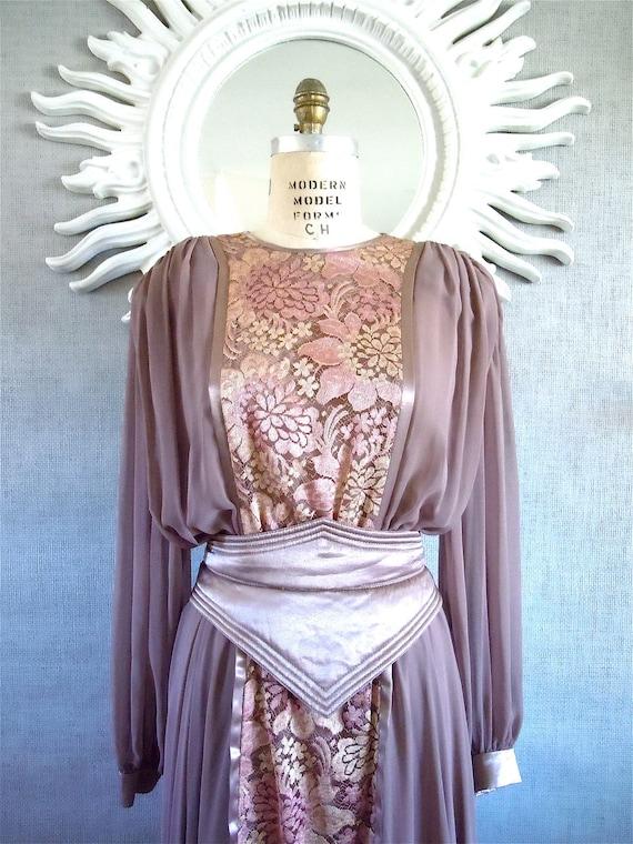 40's Chiffon Gown/ 1940's Dress, Lilac Lace and Silk chiffon dress, Belted