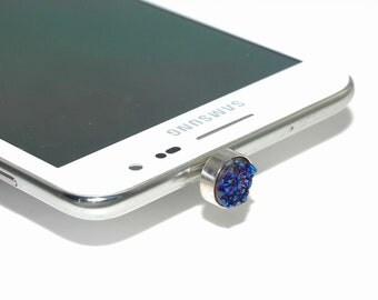 1 Piece Sparkling Blue Druzy iPhone Earphone Plug Dust Plug Decoration B41DR2481