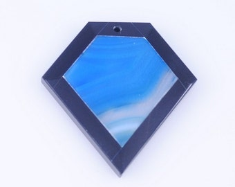 Blue Stripe Agate and Black Onyx Intarsia pendant bead G1S139783