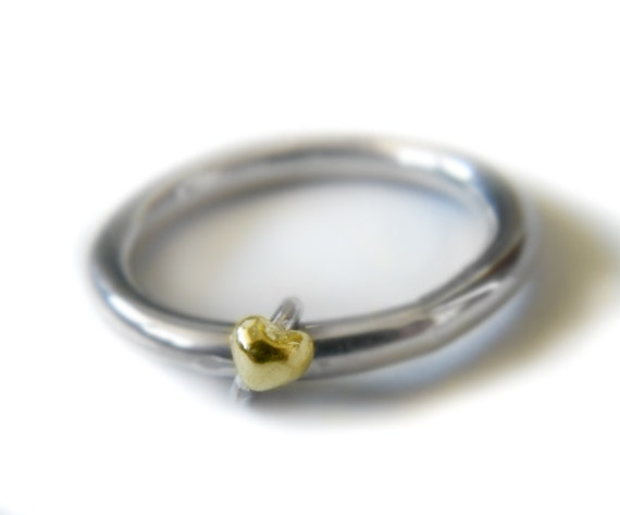 Items similar to Wedding ring with small heart simple handmade wedding band