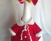 Mrs. Claus outfit for your Lawn Goose ~ Christmas Red Fleece ~Plastic or Concrete Lawn goose clothing ~
