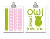 Modern Nursery Owl Print, Love Print, Set of Two 11x14 Print, Split Pea, Cotton Candy, Pink and Green