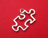 Sterling Silver Puzzle Piece Openwork Pendant Charm