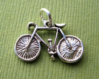 Sterling Silver Racing Bicycle  Pendant or Charm