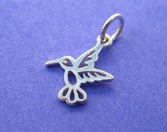 Sterling Silver Openwork Hummingbird Petite Charm