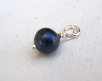 Genuine Midnight Blue Pearl  Dangle Charm