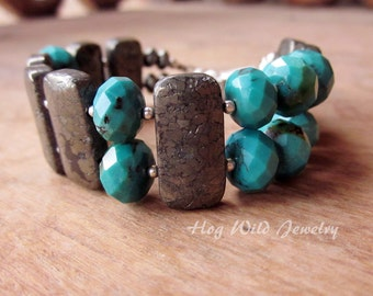 Cuff Bracelet with faceted Turquoise Pyrite Gemstone Beads Bracelet