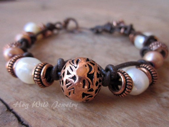 Copper Pearl and Leather Knotted Bracelet