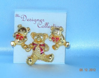 """Brooch -Pin and  earring-movable """" BEARS"""""""