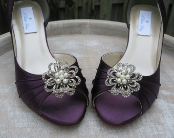 Vintage Inspired Purple Eggplant Bridal Shoes with Pearls and Crystal Rhinestone Design - Over 100 Color Shoe Choices to Pick From