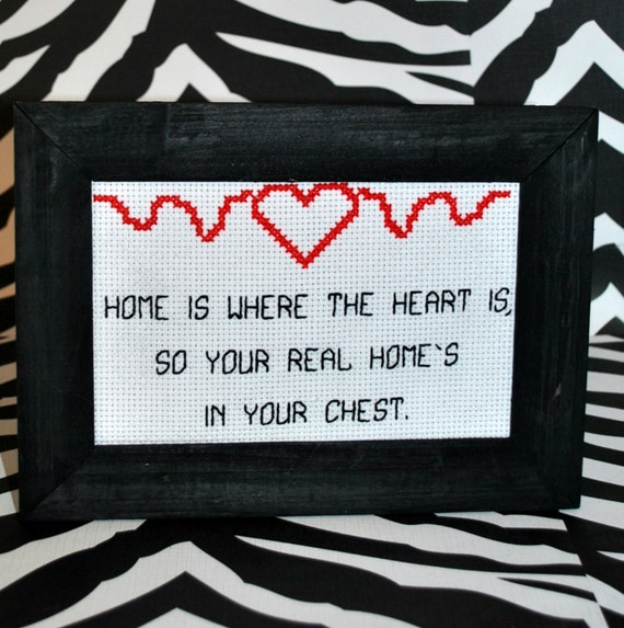 Home is Where the Heart Is Framed Cross Stitch