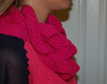 Infinity Scarf ruffle hot pink potato chip scarf