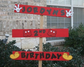 Mickey Mouse Inspired Birthday Yard Sign