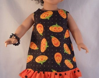 American Girl Doll Dress with Ruffle in Jack o Lantern Print Fits Other 18 Inch Dolls