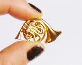 Jazzy Gold tone and Rhinestones Trombone pin mini vintage 80s brooch