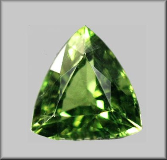 4982 - FACETED - Sparkly 7.5mm Fine Green Apatite in from Madagascar - Trillion