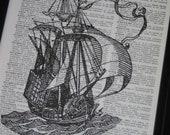 Sailing Ship Print Dictionary Art Print Dictionary Art Print  Upcycled Vintage Dictionary Book Page Print