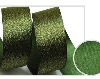 Metallic Sparkle Dark Khaki Satin Ribbon - 15mm(5/8'') , and 25mm(1'')