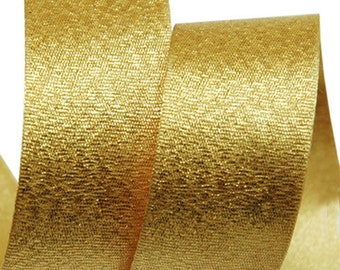 5Yards Metallic Sparkle Gold Satin Ribbon - 15mm(5/8'') , and 25mm(1'')