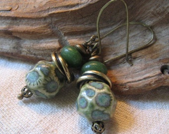 green pottery love knot earrings