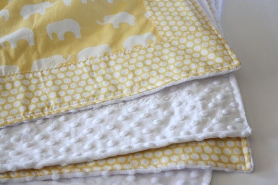 LARGE Organic Blanket, with Ellie Farm in Sunny Yellow, Polka Dots and Cream Minky Bubble Dot