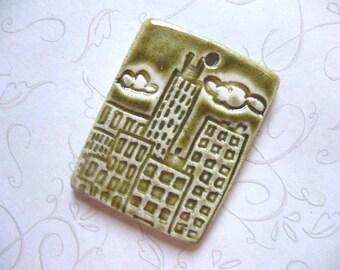 Mediterranean Olive City Ceramic Pendant