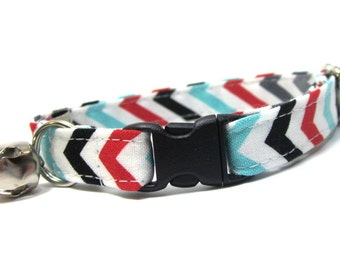 Turquoise, Red, Black Chevron Stripe Cat Collar