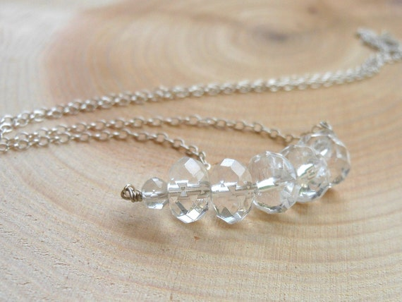Clear Crystal Quartz Necklace Sterling Silver Faceted Stone bar of chunky gems