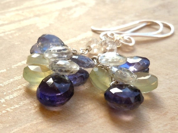 Cluster Earrings Gemstone Jewelry Blue Topaz, Iolite, Prehnite, Sterling Silver Long Dangling Earrings