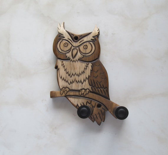 Unique ukulele wall mount hanger, hand carved owl, brown