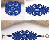 Acacia lace bracelet royal blue with sapphire blue AB vintage cabochon