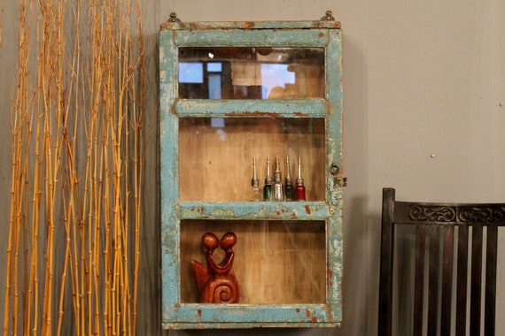 Distressed Turquoise Hanging Curio