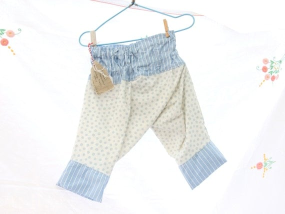 Toddler Pantaloons 1-3 years Harem Pants in Vintage French Fabric